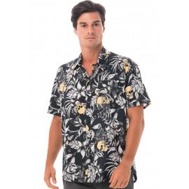 [69SLAM] Men's Wild Garden Yellow Nias Shirt, Top, Summer Shirts, Beach Shirts, Cotton 100%, Men's Shirt