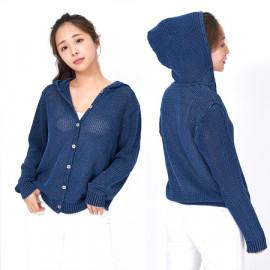 [Spring Bom] Denim Indigo Button Hood Knit_ Made in KOREA
