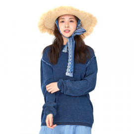 [Spring Bom] Indigo Denim Knit Sweater M, Unisex_ Made in KOREA