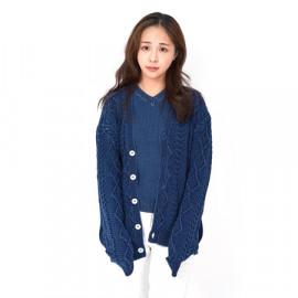 [Spring Bom] Cable Indigo Knit Cardigan M, Unisex_ Made in KOREA