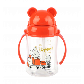[I-BYEOL Friends] Tritan 280ml, Simple One Touch Straw cup, Red _,Safe disinfection, FDA approved, free of BPA _ Made in KOREA