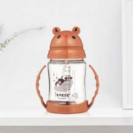 [I-BYEOL Friends] 280ml, Tritan, one touch juice cup, Brown _Gravity ball and is easy to drink,  Backflow prevention valve , FDA approved, free of BPA _ Made in KOREA
