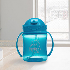 [I-BYEOL Friends] Flip Color 250ml, PP One Touch Straw cup, Blue _ Compact size straw cup, Backflow prevention, FDA approved, free of BPA _ Made in KOREA