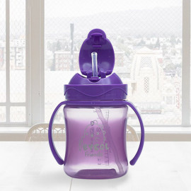 [I-BYEOL Friends] Flip Color 250ml, PP One Touch Straw cup, Purple _ Compact size straw cup, Backflow prevention, FDA approved, free of BPA _ Made in KOREA