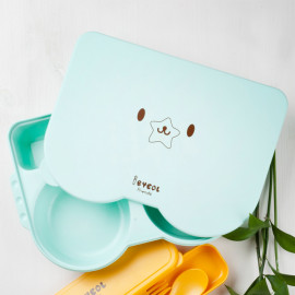 [I-BYEOL Friends] Lunch box Mint _ Baby Toddler Lunch box, Divided Lunch box, Microwave Dishwasher Safe, BPA Free _ Made in KOREA