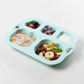 [I-BYEOL Friends] Infant Plate, Mint_ Baby Toddler Plate, Divided Plate, Microwave Dishwasher Safe, BPA Free _ Made in KOREA