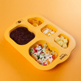 [I-BYEOL Friends] Infant Plate, Yellow _ Toddler Plate, Divided Plate, Microwave Dishwasher Safe, BPA Free _ Made in KOREA