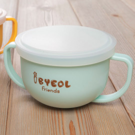 [I-BYEOL Friends] Two hands cup Mint + Silicone Lid (Storage) _ Snack Catcher with Silicon Lid, Snack Container for Toddler and Baby, Portable Biscuits Candy Box, BPA Free, Made in Korea