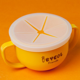 [I-BYEOL Friends] Two hands cup Yellow + Silicone Lid (Snack) _ Snack Catcher with Silicon Lid, Snack Container for Toddler and Baby, Portable Biscuits Candy Box, BPA Free, Made in Korea