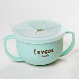 [I-BYEOL Friends] Two hands cup Mint + Silicone Lid (Snack) _ Snack Catcher with Silicon Lid, Snack Container for Toddler and Baby, Portable Biscuits Candy Box, BPA Free, Made in Korea