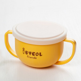 [I-BYEOL Friends] Two hands cup Yellow + Silicone Lid (Storage) _ Snack Catcher with Silicon Lid, Snack Container for Toddler and Baby, Portable Biscuits Candy Box, BPA Free, Made in Korea