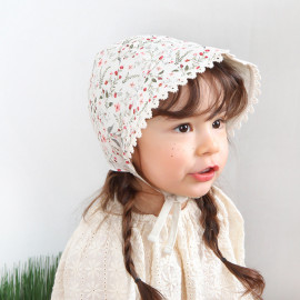 [BABYBLEE] A18103_Flower Pattern Bonnet for Infants, Baby, Double-sided, Cotton 100%, Made in KOREA