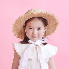 [BABYBLEE] A18514 _ Kids Ribbon Raffia Bucket Hat Toddler Summer Hats Kids Suncap Beach Hats, Bungagee _ Made in KOREA