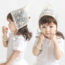 [BABYBLEE] A19102 _ Honney B, Baby Little Kids Toddlers Breathable Lacy Bonnet Eyelet Cotton Adjustable Sun Protection Hat _ Made in KOREA