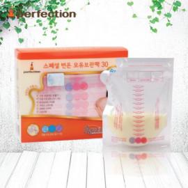 [PERFECTION] 2 Way Breast Milk Storage Bags, 250ml, 30pcs (Temperature indicator)_ Breast-Feeding, Milk Powder, BPA Free _ Made in KOREA