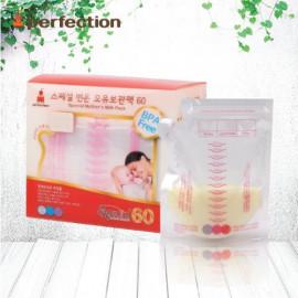 [PERFECTION] 2 Way Breast Milk Storage Bags, 250ml, 60pcs (Temperature indicator)_ Breast-Feeding, Milk Powder, Feeding Bottle, BPA Free _ Made in KOREA