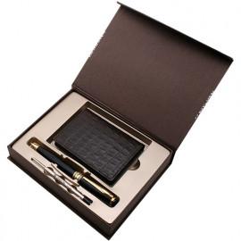 [WOOSUNG] Gift Set_ Cowhide Leather Business Card Holder Case (Dark Brown) + Premium Angel Pen (Gold) + Refill