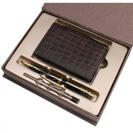 [WOOSUNG] Gift Set_Natural Cowhide Leather Business Card Holder Case (Dark Brown) + Korean Letter Pen (Gold) + Refill