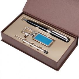 [WOOSUNG] Gift Set_ Metal Key Chain, Key holder + Premium Angel Metal Pen (Silver) + Refill