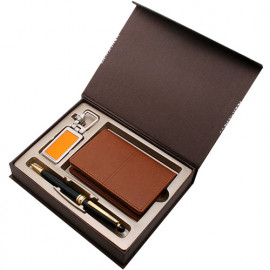 [WOOSUNG] Gift Set_PU Business Card Holder Case + Classic Metal Pen + Hidden Metal Key Chain