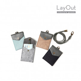 [LayOut] Felt Credit Card Holder Case Wallet with the Leather String _Made in Korea