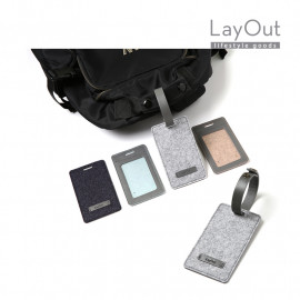 [LayOut] Felt Travel ID Tag, Luggage Tag with the Leather Strap _Made in Korea