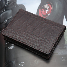 [WOOSUNG] Natural Cowhide Leather Business Card Holder Case, Hand Made, Crocodile pattern _ Made in KOREA