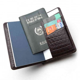 [WOOSUNG] Cowhide Crocodile pattern Passport Holder Cover Wallet, Travel wallet, pen holder_Made in KOREA