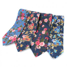 [MAESIO] KCT0013 Fashion Flower Denim Necktie 8cm 4Color _ Men's Ties Formal Business,  Ties for Men, Prom Wedding Party, All Made in Korea