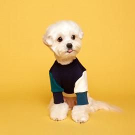 [FLOT] Block Sweatshirt, Navy Ivory, Dog Clothes _ Dog Shirts, Pet T-Shirts _ Made in KOREA
