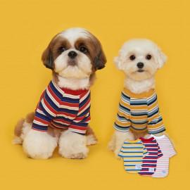 [FLOT] Stripe T-shirt, Puppy Clothes, White Pink _ Dog Shirts, Pet T-Shirts, Ribbed Shirt _ Made in KOREA