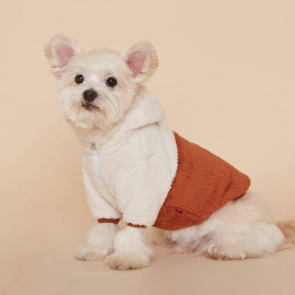 [FLOT] Fluffy Fleece Anorak Hoodie, Dog Clothes, Brown _ Dog Shirts, Pet T-Shirts _ Made in KOREA
