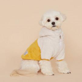 [FLOT] Fluffy Fleece Anorak Hoodie, Dog Clothes, Yellow _ Dog Shirts, Pet T-Shirts _ Made in KOREA