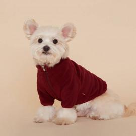 [FLOT] Fleece Zip Up, Dog Clothes, Burgundy _ Dog Shirts, Pet T-Shirts _ Made in KOREA