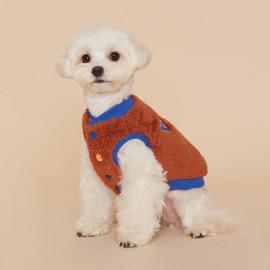 [FLOT] Fluffy Fleece Stadium Vest, Dog Clothes, Brown _ Dog Shirts, Pet T-Shirts _ Made in KOREA