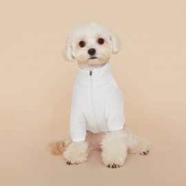 [FLOT] fleece zip up, dog clothes, ivory _ Dog Shirts, Pet T-Shirts _ Made in KOREA