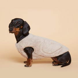 [FLOT] Fluffy Fleece Vest - Beige _ Dog Shirts, Pet T-Shirts _ Made in KOREA