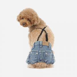 [TUSTUS] PUPPY JEANS BLUE _ Dog Shirts Dog Clothes, Puppy Sleeveless T-Shirt Pet Clothes for Dog and Cat Wear, Made in Korea
