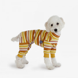 [TUSTUS] STRIPE ALL IN ONE YELLOW _ Dog Shirts Dog Clothes, Puppy Sleeveless T-Shirt Pet Clothes for Dog and Cat Wear, Made in Korea