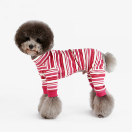 [TUSTUS] STRIPE ALL IN ONE PINK _ Dog Shirts Dog Clothes, Puppy Sleeveless T-Shirt Pet Clothes for Dog and Cat Wear, Made in Korea