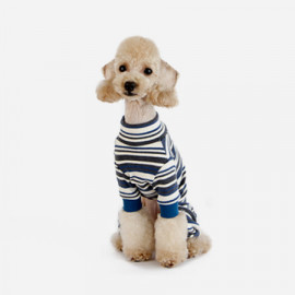 [TUSTUS] STRIPE ALL IN ONE BLUE _ Dog Shirts Dog Clothes, Puppy Sleeveless T-Shirt Pet Clothes for Dog and Cat Wear, Made in Korea