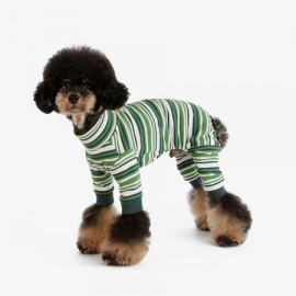 [TUSTUS] STRIPE ALL IN ONE GREEN _ Dog Shirts Dog Clothes, Puppy Sleeveless T-Shirt Pet Clothes for Dog and Cat Wear, Made in Korea
