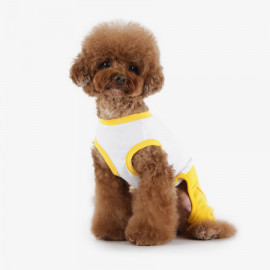 [TUSTUS] ALL IN ONE YELLOW _ Dog Shirts Dog Clothes, Puppy Sleeveless T-Shirt Pet Clothes for Dog and Cat Wear, Made in Korea