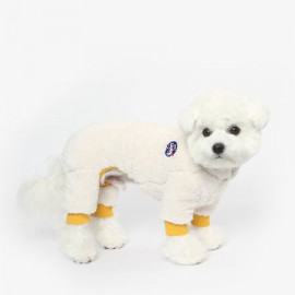 [TUSTUS] FLEECE ALL IN ONE IVORY _ Dog Shirts Dog Clothes, Puppy Sleeveless T-Shirt Pet Clothes for Dog and Cat Wear, Made in Korea