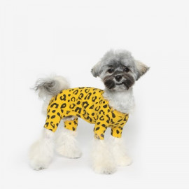 [TUSTUS] LEOPARD ALL IN ONE YELLOW _ Dog Shirts Dog Clothes, Puppy Sleeveless T-Shirt Pet Clothes for Dog and Cat Wear, Made in Korea