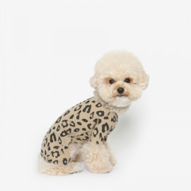 [TUSTUS] LEOPARD ALL IN ONE BEIGE _ Dog Shirts Dog Clothes, Puppy Sleeveless T-Shirt Pet Clothes for Dog and Cat Wear, Made in Korea