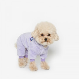 [TUSTUS] BEAR BEAR FLEECE ALL IN ONE VIOLET _ Dog Shirts Dog Clothes, Puppy Sleeveless T-Shirt Pet Clothes for Dog and Cat Wear, Made in Korea