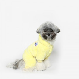 [TUSTUS] BEAR BEAR FLEECE ALL IN ONE LEMON _ Dog Shirts Dog Clothes, Puppy Sleeveless T-Shirt Pet Clothes for Dog and Cat Wear, Made in Korea