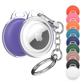 [S2B] Alpha Vivid AirTags Combo Case _ Compatible with Apple AirTags Case Keychain Holder Key Ring Cases Air Tags Protective Cover Airtag Key Chain Loop Holders for Luggage Dog Cat Pet Collar