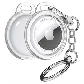 [S2B] Alpha Clear AirTags Combo Case _ Compatible with Apple AirTags Case Keychain Holder Key Ring Cases Air Tags Protective Cover Airtag Key Chain Loop Holders for Luggage Dog Cat Pet Collar